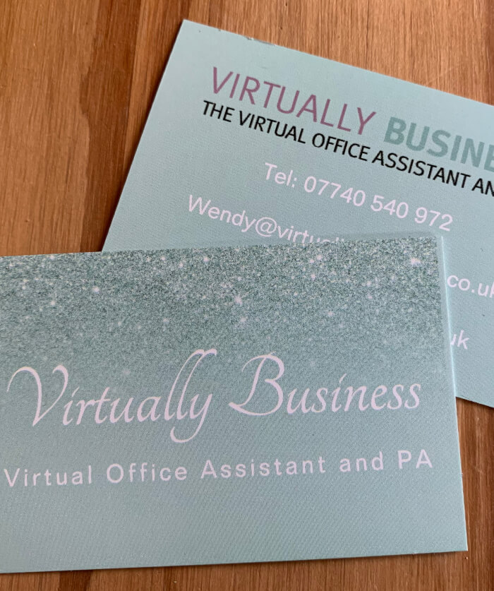 About Wendy and Virtually Business, image of business cards